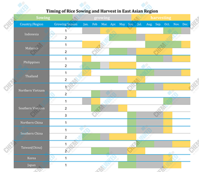Timing of Rice Sowing and Harvest in East Asian Region
